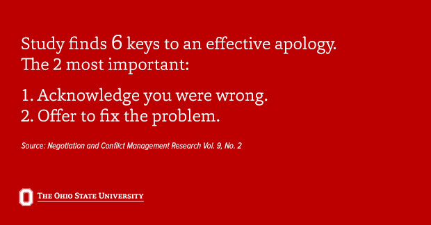 Two of the 6 elements of an effective apology, according to science