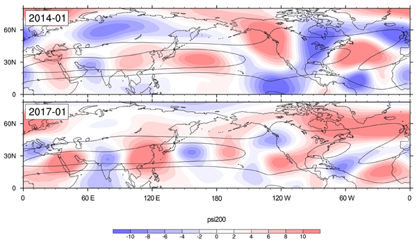 high- and low-pressure regions of wavenumber-5 set up in different locations during January 201