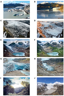 Time-lapse photo couplets of glaciers