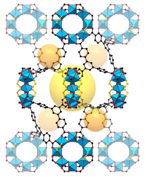 structure of a nanostructure known as a metal-organic framework or MOF