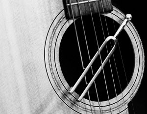 classical tuning fork slung from guitar strings