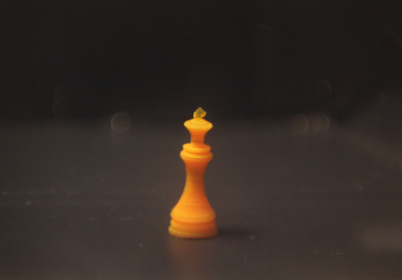 A tiny chess king, 3D-printed with a temperature-responsive hydrogel
