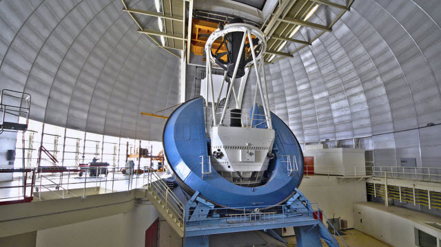 A view inside the dome at the Mayall Telescope