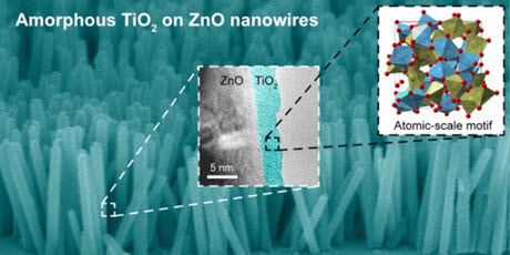 A false-colored scanning electron microscope image of zinc oxide (ZnO) nanowires coated with titanium dioxide