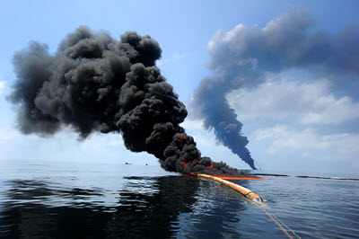 a controlled fire in the Gulf of Mexico