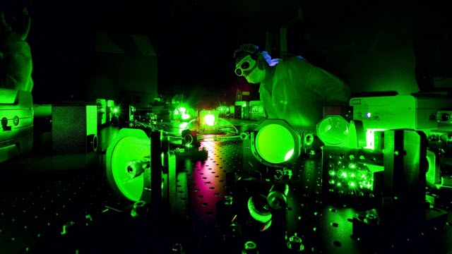 A scientist at work in the Extreme Light Laboratory at the University of Nebraska-Lincoln