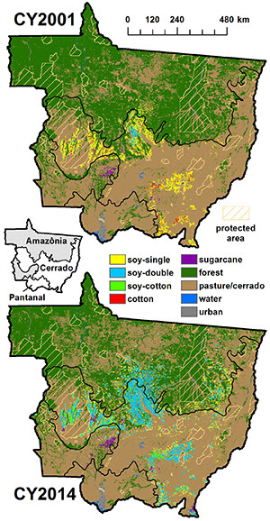 Mato Grosso land cover for crop years 2001 and 2014