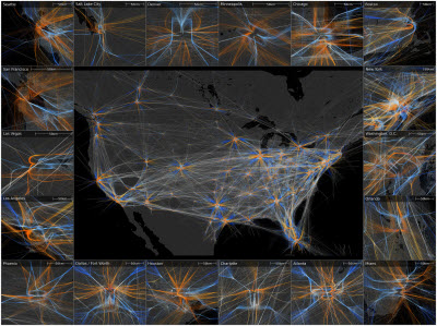 PANTHER's geometric and temporal trajectory analyses of air traffic patterns from 43,000 flights over the continental United States on April 4, 2014