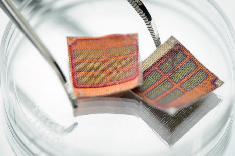 fabric that contains energy-generating solar cells