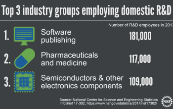 top three industry groups employing domestic R&D