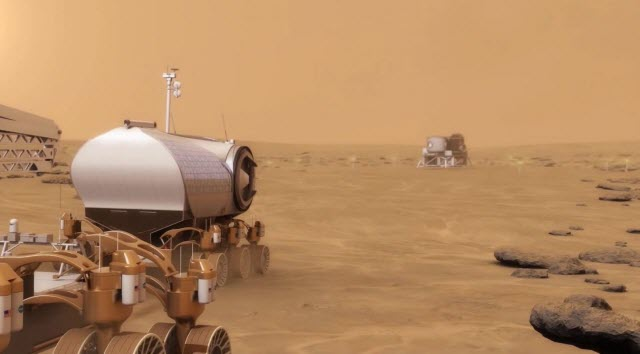 An artist's depiction of a rover on the surface of Mars