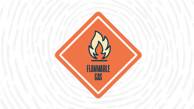 Flammable gas lab safety symbol